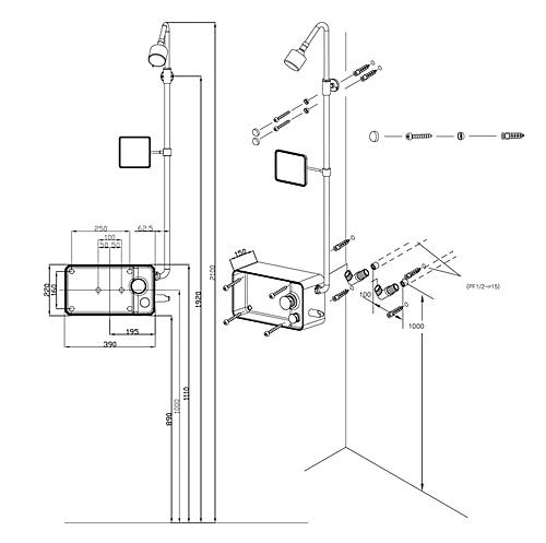 схема размеры душевая панель CEBIEN PAZZLE 200