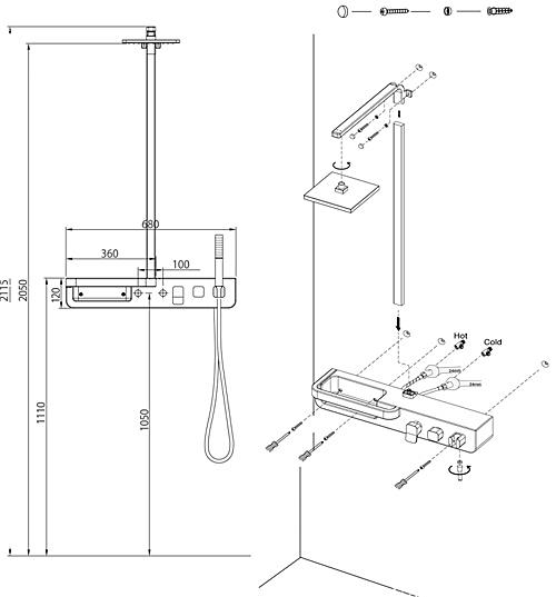 схема размеры душевая панель CEBIEN UD