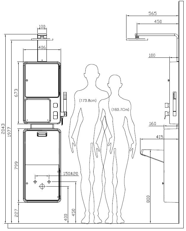 размеры душевая панель CEBIEN ALL IN 3