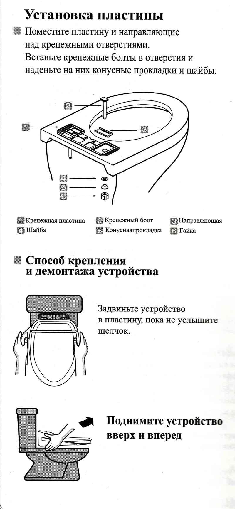 Схема установки крышки-биде на унитаз