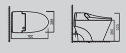 размеры унитаза сенспа senspa-vovo-tankless-TCB-2011r